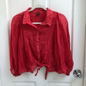 Red Puff Sleeve Button Down Free People Blouse
